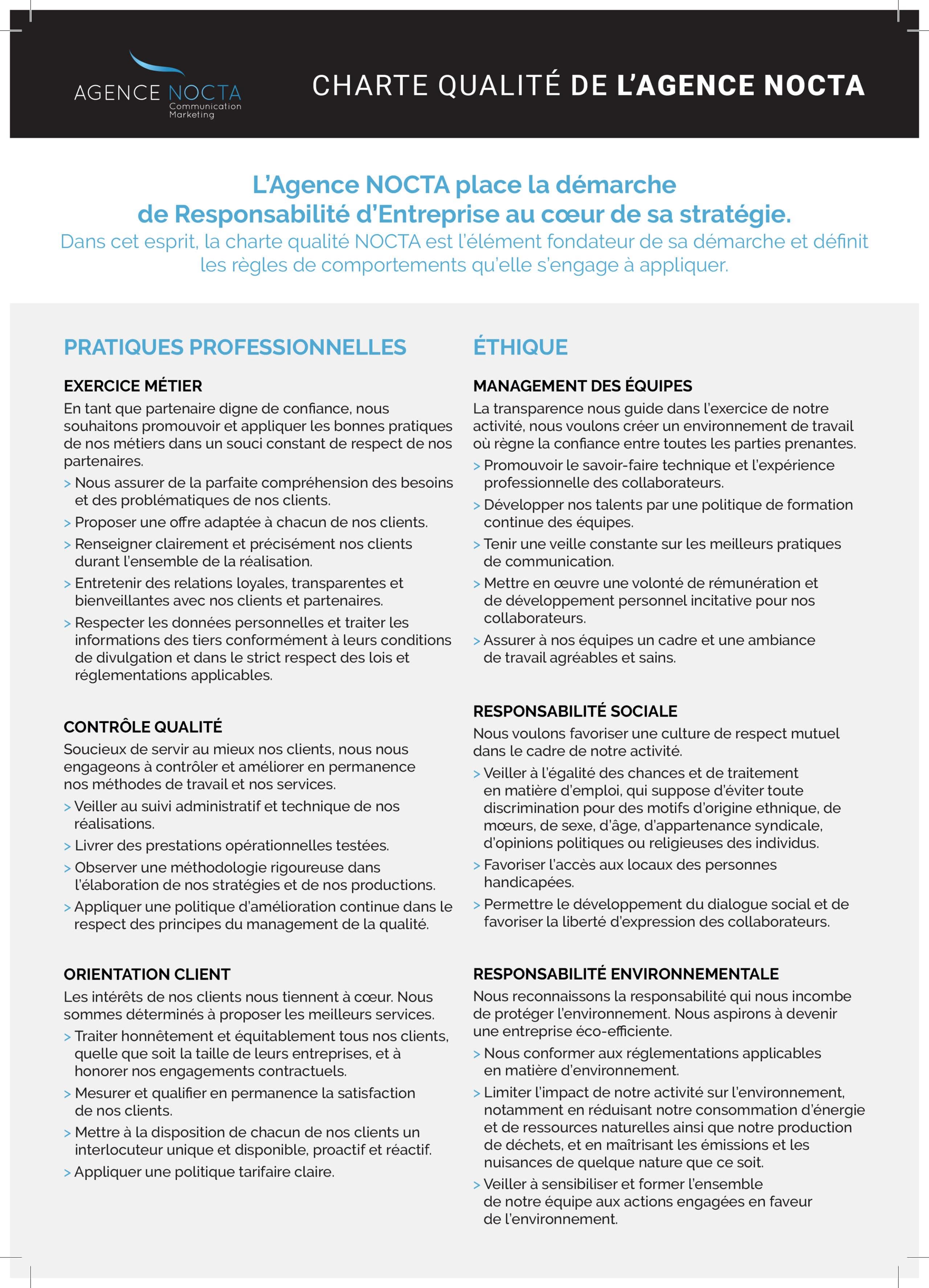 Agence NOCTA - Charte qualité